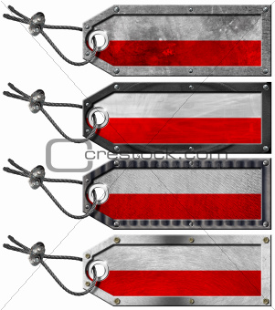 Poland Flags Set of Grunge Metal Tags