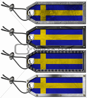 Sweden Flags Set of Grunge Metal Tags