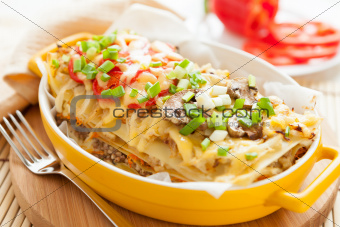 Italian lasagna dish with vegetables