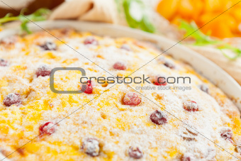 Cheese casserole with cranberries and raisins close-up
