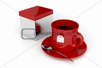 Tea cup and metal box