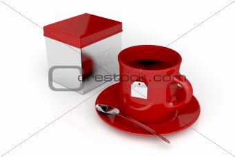 Tea cup and metal box