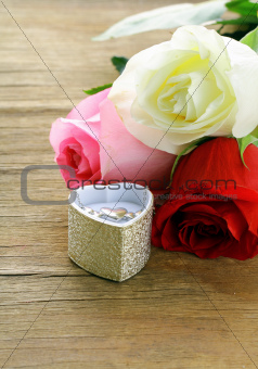 fresh roses and gifts for the holiday Valentines Day