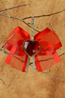 red heart with a bow - decoration for Valentine's Day