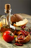 Sun dried tomatoes, white bread and olive oil.