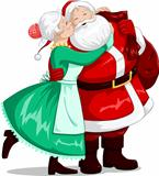 Mrs Claus Kisses Santa On Cheek And Hugs