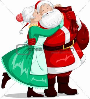Mrs Claus Kisses Santa On Cheek And Hugs