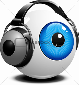 Eye with headphones