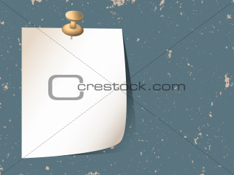 White sticky note paper attached with pin on grunge