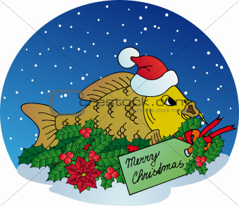 Xmas carp on snow background