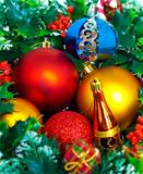 Colorful christmas bauble decorations