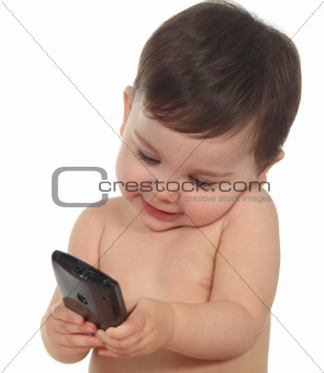 Baby happy with a mobile phone