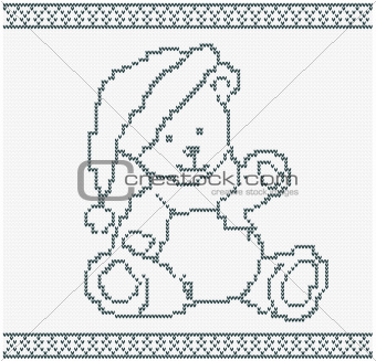 Illustration of a Knitted Bear