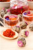 Herbal natural floral tea infusion with dry flowers