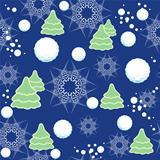 Seamless winter pattern with snowflakes, snowball, firtree