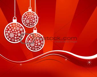 Waving elegant red Christmas background