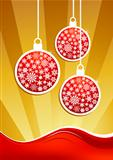 Golden christmas baubles background