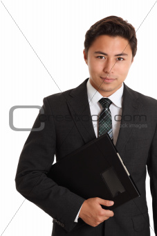 Serious businessman with folder