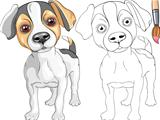 Vector Coloring Book of smiling Puppy dog Jack Russell Terrier