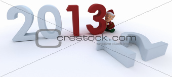 Christmas Elf  bringing in the new year
