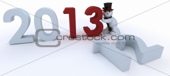 Snowman in hat and scarf  bringing in the new year