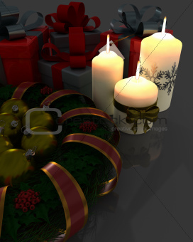 Christmas Garland with gifts and candles