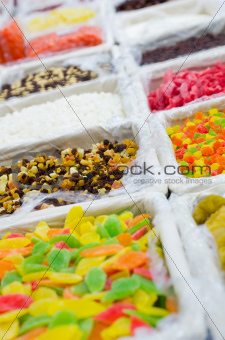 Close up image of fruits dry mix in supermarket