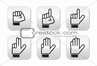 Counting hand signs - vector buttons isolated on white