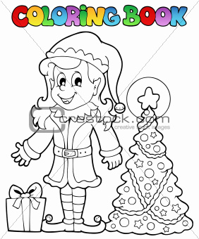 Coloring book Christmas elf theme 3