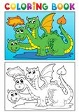Coloring book dragon theme image 4