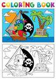 Coloring book pirate parrot theme 3