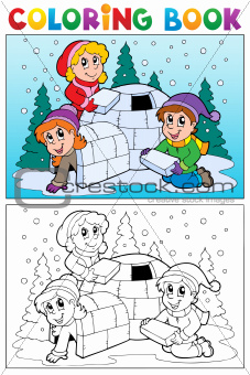 Coloring book winter topic 4