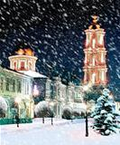 Orthodox cathedral at Christmas night