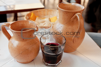 clay jugs with local red wine