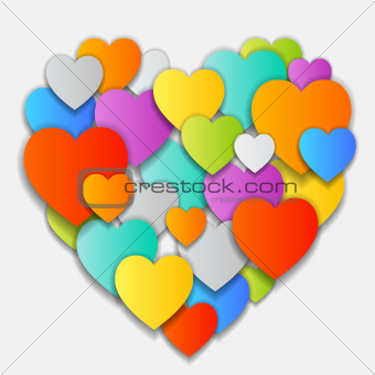 vector Valentine's Day Card with colorful hearts