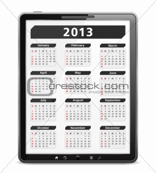 2013 Calendar on the screen of tablet computer