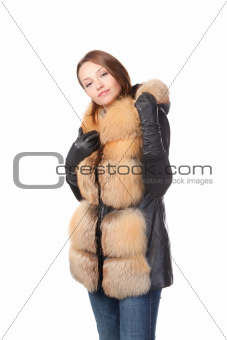 Stylish woman in winter fashion