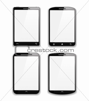 Set of four modern smartphones