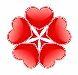 Circle made of red hearts