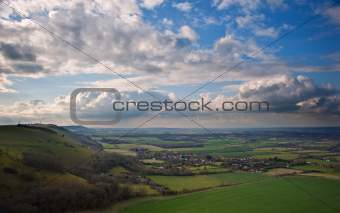 Sttunning scene across escarpment countryside landscape with bea