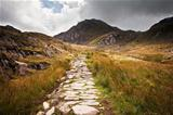 View along footpath in mountains towards Glyder Fawr Snowdonia N