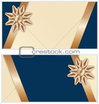 Festive Golden Bow Blue Banners