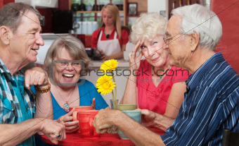 Woman with Friends Holding Head