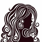 Silhouette of a young lady with luxurious hair