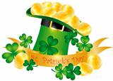 St Patricks Day Hat Banner Gold Coins Illustration