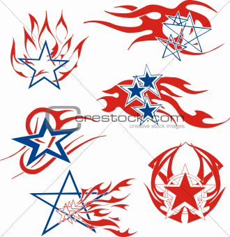Set of star flames