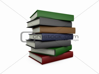 Stack of books - 3D render