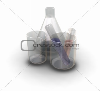 Flask, beaker and test tubes