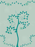 Swirly tree and flower vector