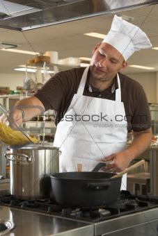 Adding the pasta